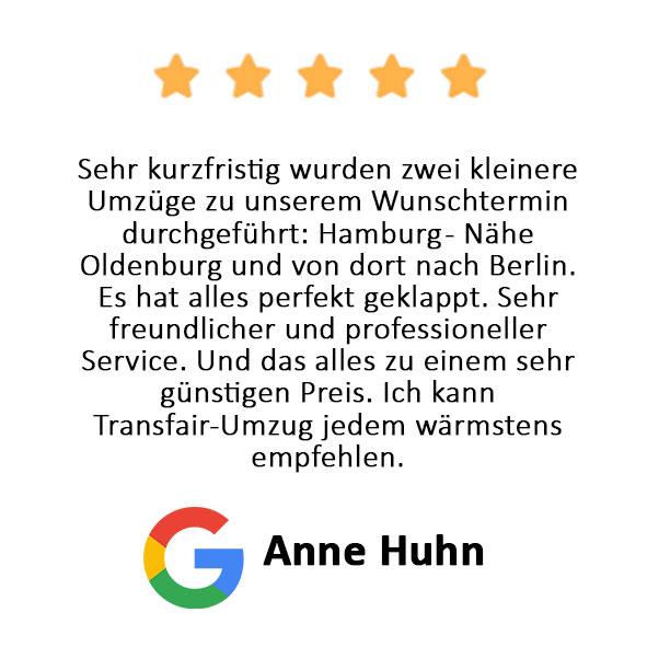 Anne Huhn Bewertung Transfair Umzug