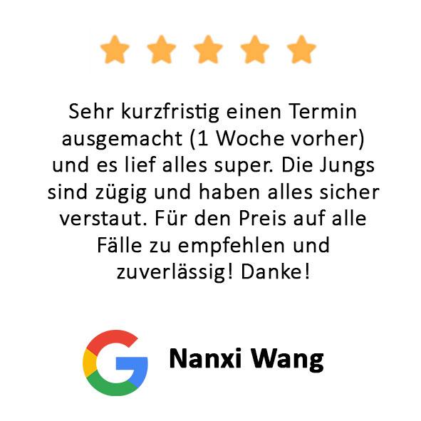 Nanxi Wang Bewertung Firmenumzug Hamburg