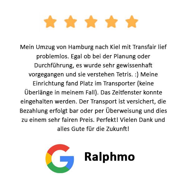 Ralphmo Bewertung Firmenumzug Hamburg