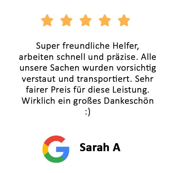 Sarah A Bewertung Firmenumzug Hamburg